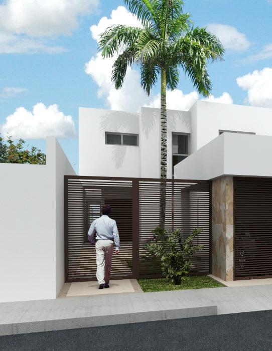 Portones en fachada suman a la belleza y seguridad ja for Fachada de casas modernas con porton
