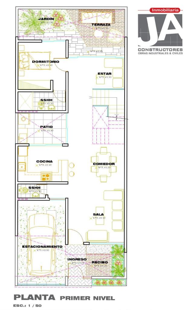 pisos de concreto sala de estar Vivienda Unifamiliar Con Dormitorio En El Primer Piso JA