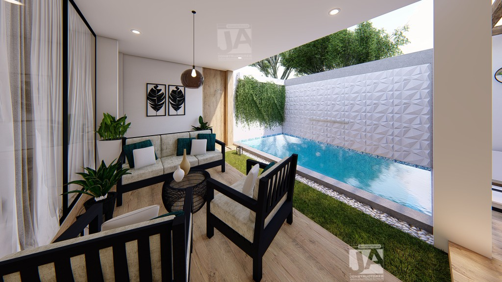 Tendencia 2021: piso madera, enchape en pared de piedra, elementos de naturaleza, muebles de madera